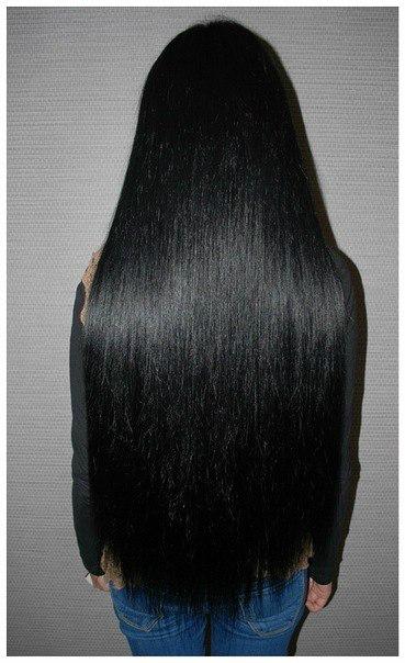 Нарощенные черные волосы